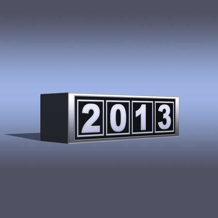 Illustration with a 2013 block 3d on a grey background  illustration