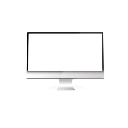 Illustration with a personal computer on a white background  Stockfoto