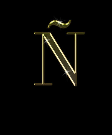 ntilde: Illustration with � letter in gold on black background