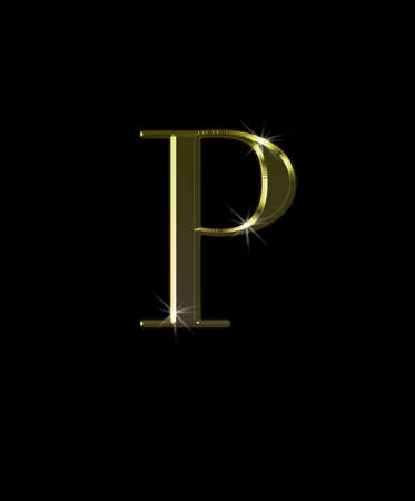 Illustration with P letter in gold on black background  illustration