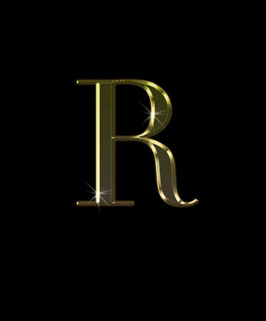 Illustration with R letter in gold on black background