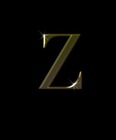 speculation: Illustration with Z letter in gold on black background  Stock Photo