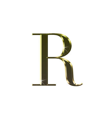 r fine: Illustration with R in gold on white background  Stock Photo