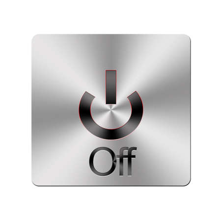 Illustration with a metal Off button on a white background  illustration
