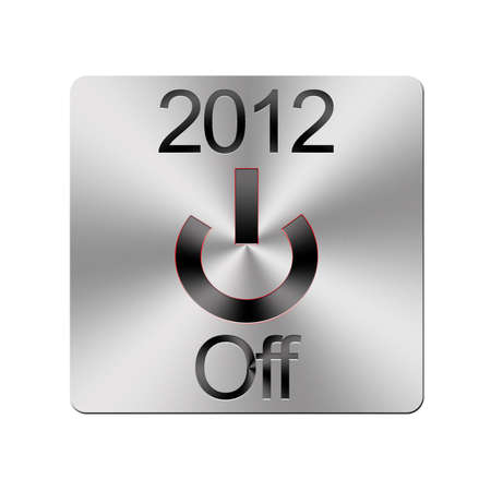 Illustration with a metal 2012 Off button on a white background  illustration
