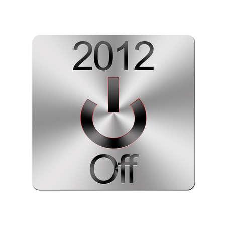 boton on off: Ilustraci�n con un bot�n de metal Off 2012 en un fondo blanco Foto de archivo
