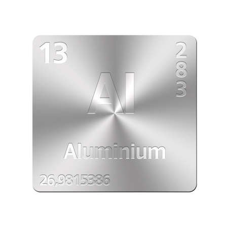 Isolated metal button with periodic table, Aluminium  Stock Photo