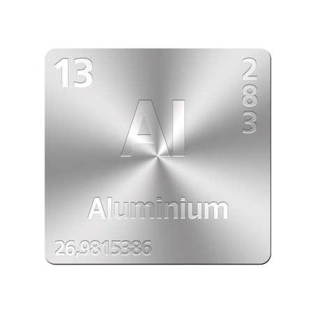 Metallo pulsante isolato con tavola periodica, in alluminio
