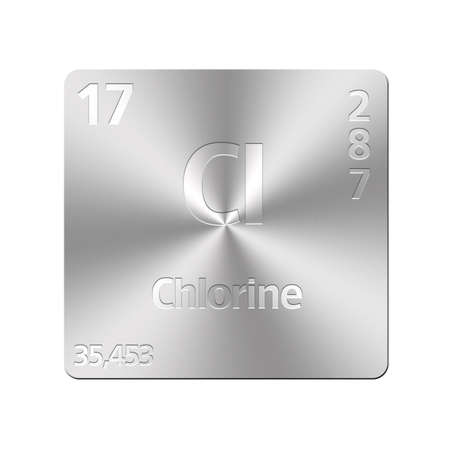 Isolated metal button with periodic table, Chlorine  Stock Photo - 15972634