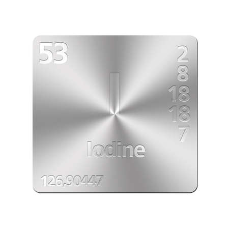 iodine: Isolated metal button with periodic table, Iodine  Stock Photo