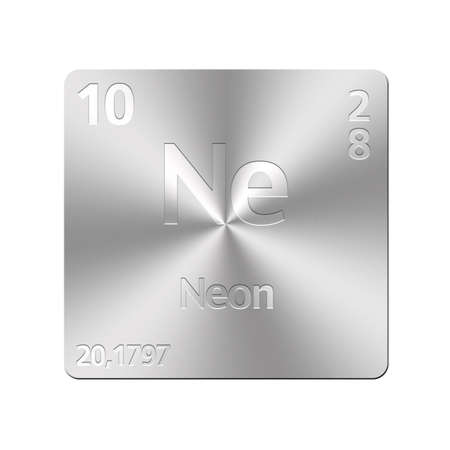 ne: Isolated metal button with periodic table, Neon