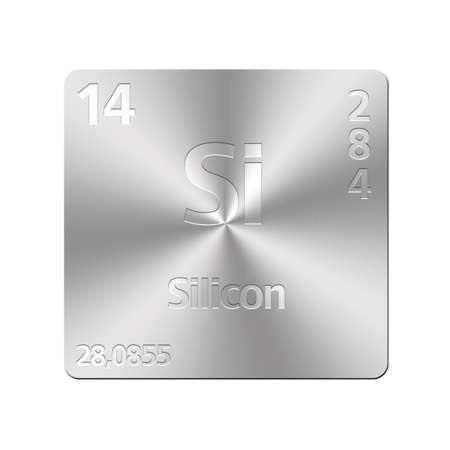mendeleev: Isolated metal button with periodic table, Silicon