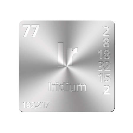 Isolated metal button with periodic table, Iridium  Stock Photo - 15972699