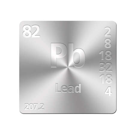 Isolated metal button with periodic table, Lead  photo
