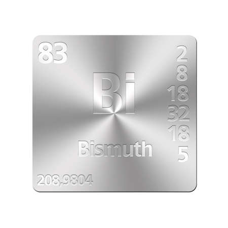 bismuth: Isolated metal button with periodic table, Bismuth