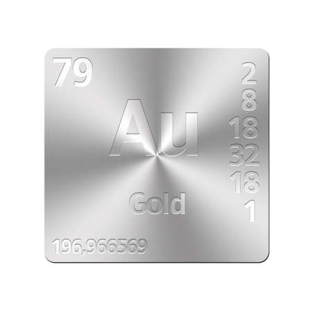 Isolated metal button with periodic table, Gold  photo