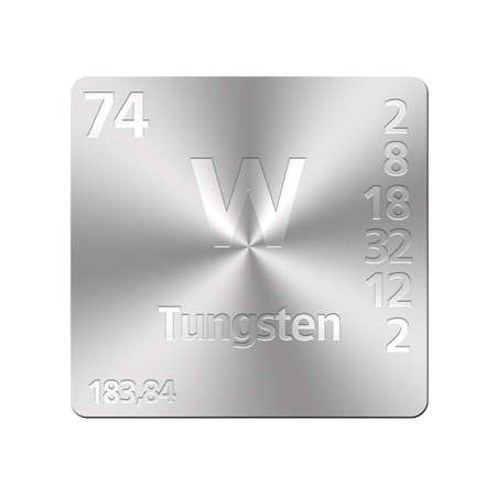 Isolated metal button with periodic table, Tungsten  photo