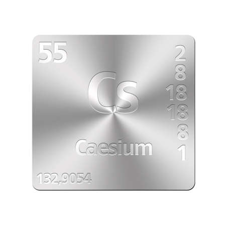 cesium: Isolated metal button with periodic table, Caesium
