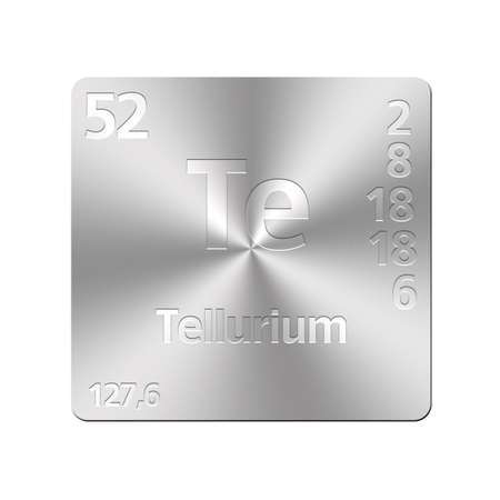Isolated metal button with periodic table, Tellurium Stock Photo - 15972701