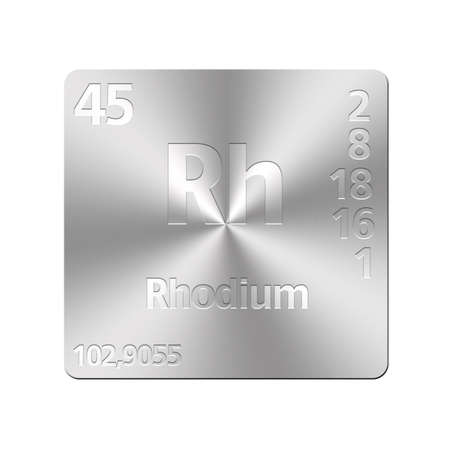 rhodium: Isolated metal button with periodic table, Rhodium  Stock Photo