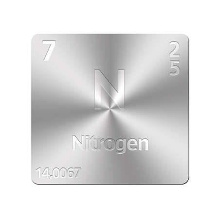 Isolated metal button with periodic table, Nitrogen  photo