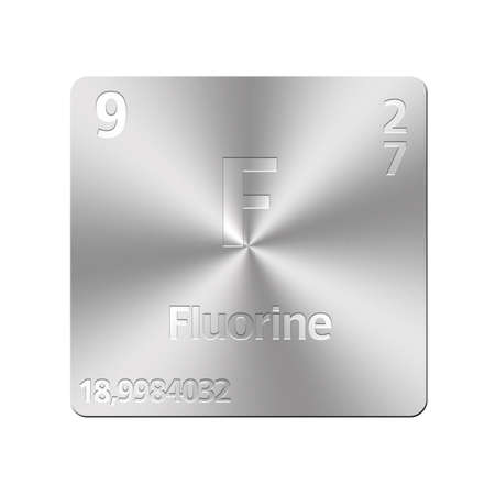 Isolated metal button with periodic table, Fluorine  photo