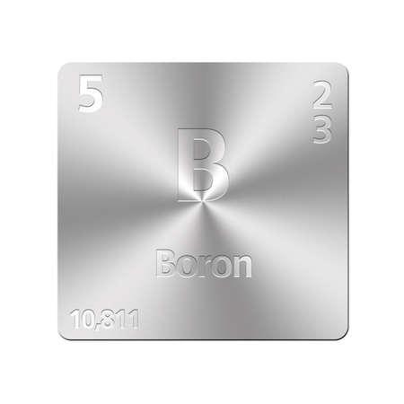 boro: Bot�n de metal aislada con tabla peri�dica, Boro Foto de archivo