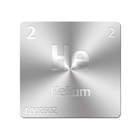 Isolated metal button with periodic table, Helium  Stock Photo - 15972832