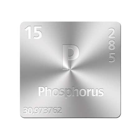 phosphorus: Isolated metal button with periodic table, Phosphorus