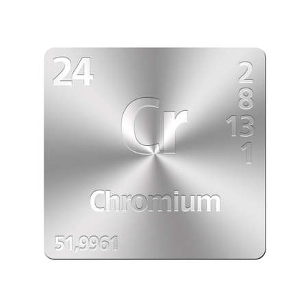cr: Isolated metal button with periodic table, Chromium  Stock Photo
