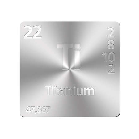 Isolated metal button with periodic table, Titanium  Stock Photo