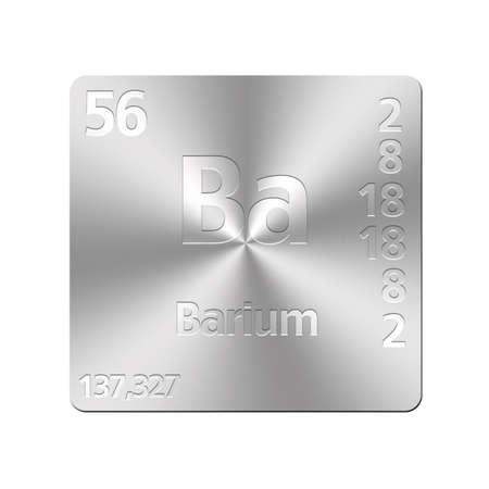 barium: Isolated metal button with periodic table, Barium