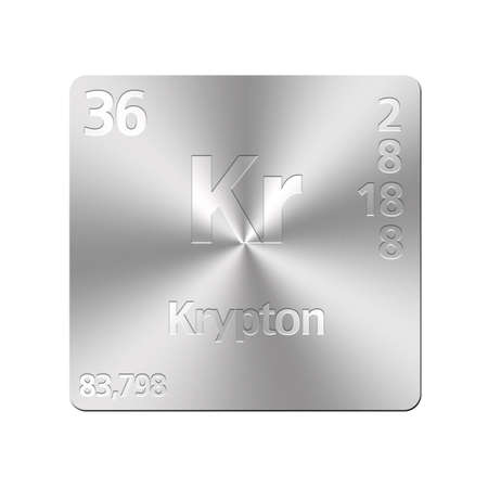 krypton: Isolated metal button with periodic table, Krypton