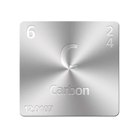 experimentation: Isolated metal button with periodic table, Carbon