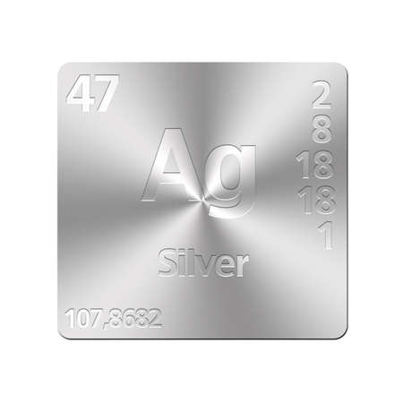 ag: Isolated metal button with periodic table, Silver