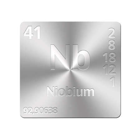 nb: Isolated metal button with periodic table, Niobium