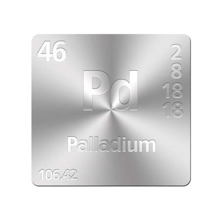 palladium: Isolated metal button with periodic table, Palladium  Stock Photo