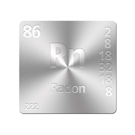 radon: Isolated metal button with periodic table, Radon  Stock Photo