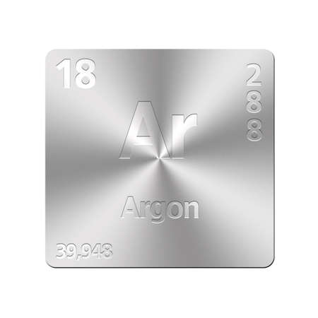 argon: Isolated metal button with periodic table, Argon  Stock Photo