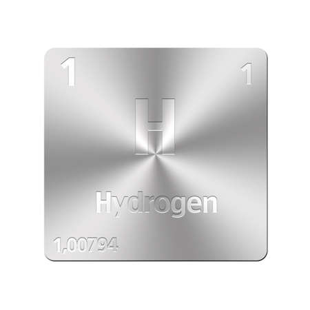 hydrogen: Isolated metal button with periodic table, Hydrogen