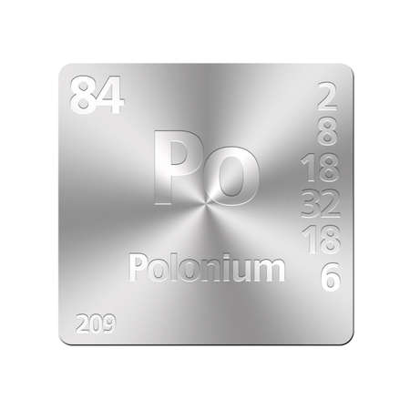 polonium: Isolated metal button with periodic table, Polonium  Stock Photo