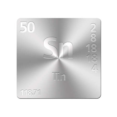 Isolated metal button with periodic table, Tin  photo