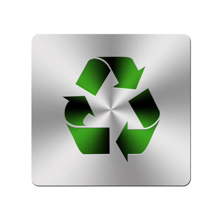 Illustration with a metal recycle button on a white background  illustration