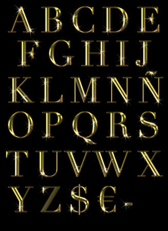 Illustration with abc in gold on black background