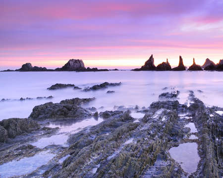 Sunrise on Gueirua beach in Asturias, Spain  photo