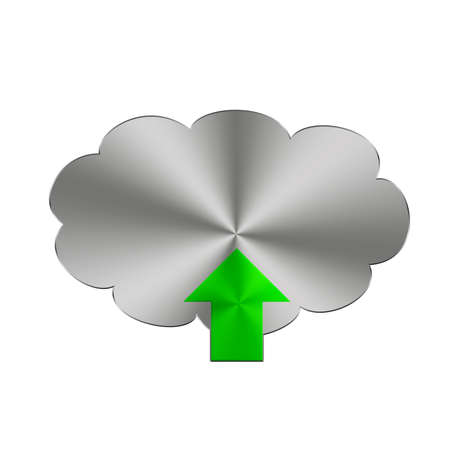 Illustration with a metal upload button on a white background  illustration