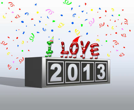 Illustration with I love new year 2013  illustration