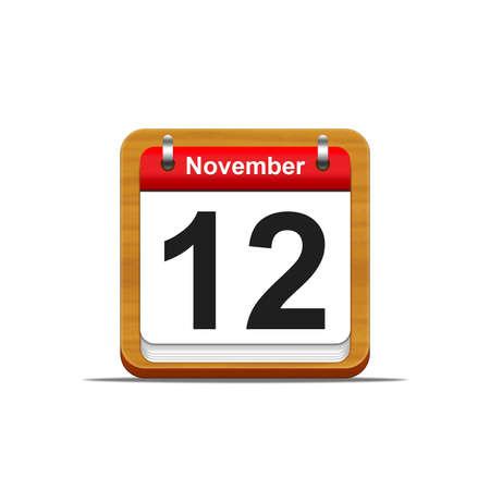 mon 12: Illustration elegant wooden calendar on white background  Stock Photo