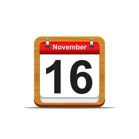 number 16: Illustration elegant wooden calendar on white background  Stock Photo