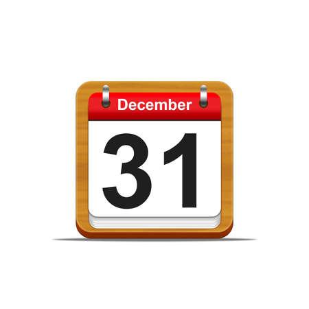 31: Illustration elegant wooden calendar on white background  Stock Photo